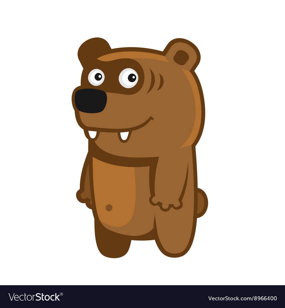Bear Cartoon Style Funny Animal on White