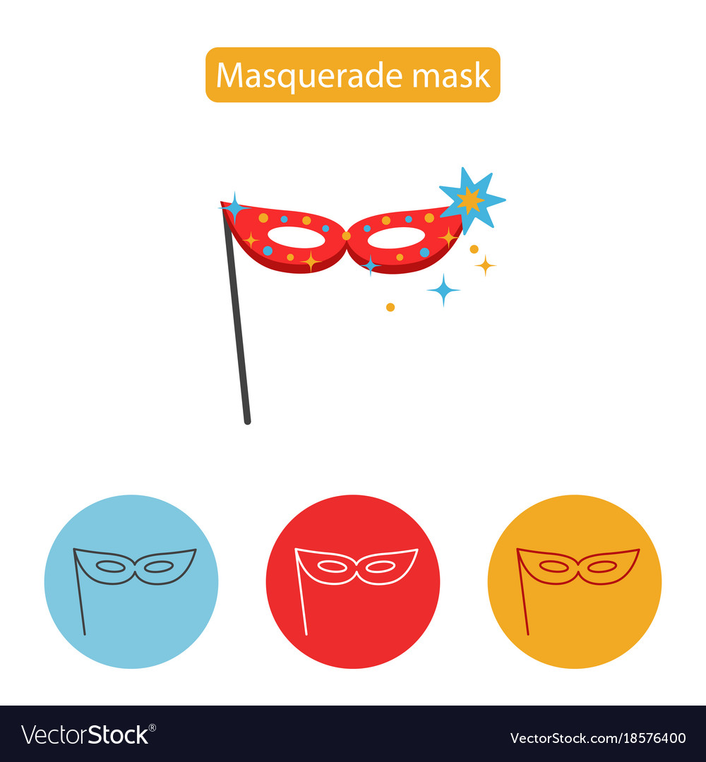 Carnival mask icon line icon flat sign vector image