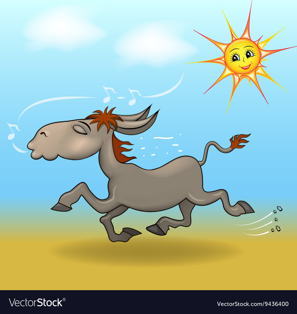 Cartoon a donkey is running in the sand