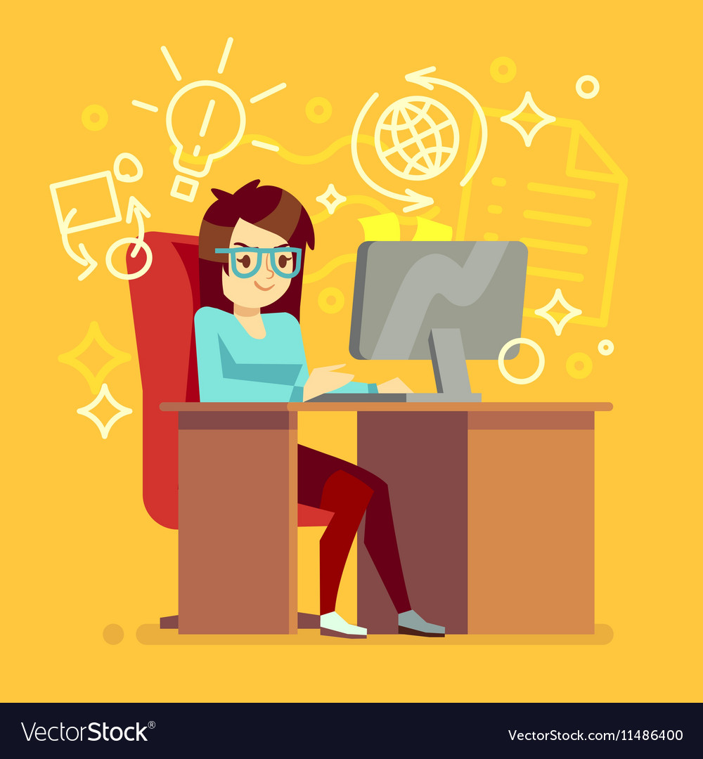 Creative girl work at home office with computer
