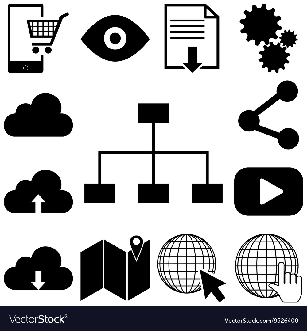 Internet technolody signs set Flat vector image