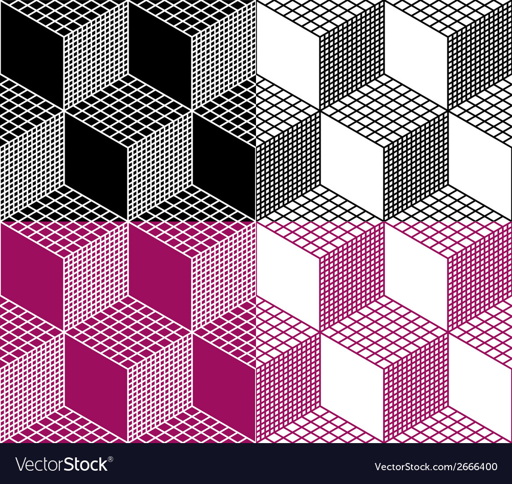 monochrome seamless 3d cube pattern royalty free vector
