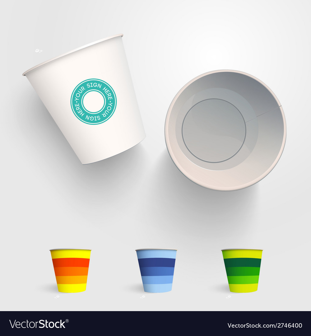 Realistic 3d Paper Cup Template Royalty Free Vector Image