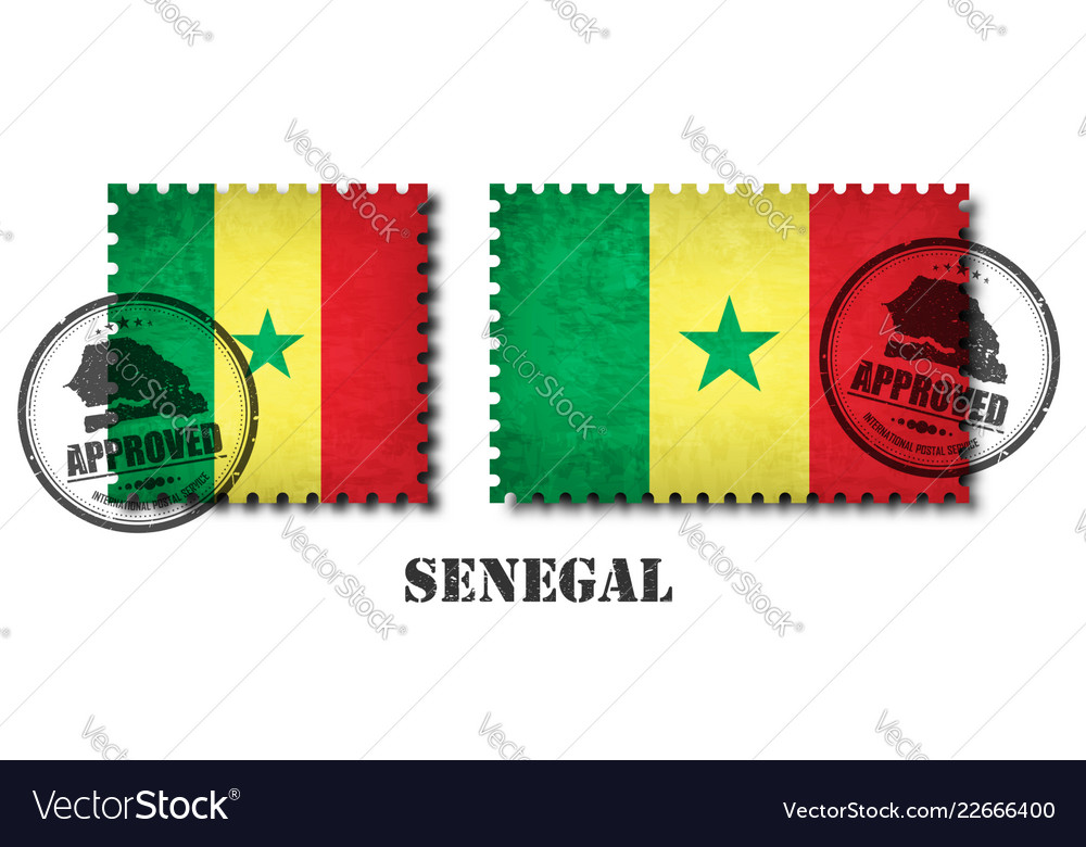 Senegal or senegalese flag pattern postage stamp