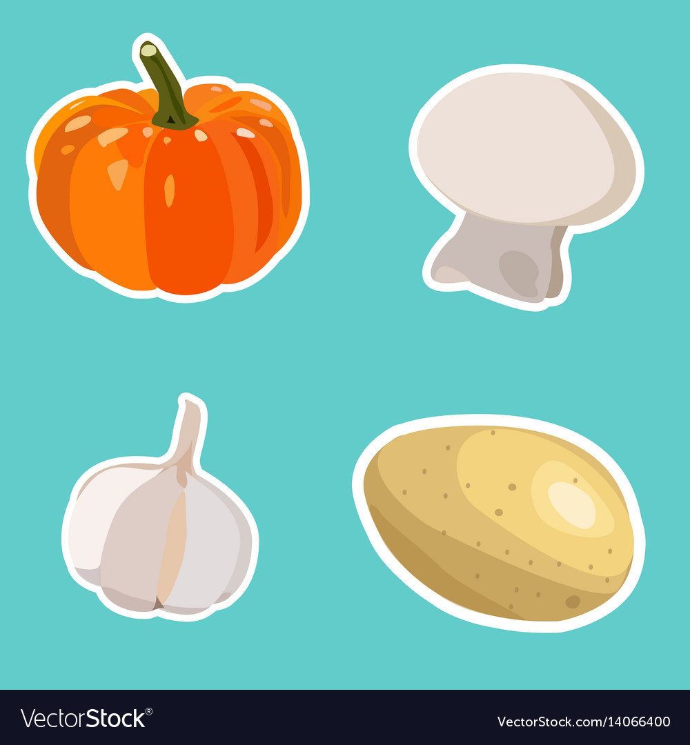 Set of flat cartoon vegetables stickers