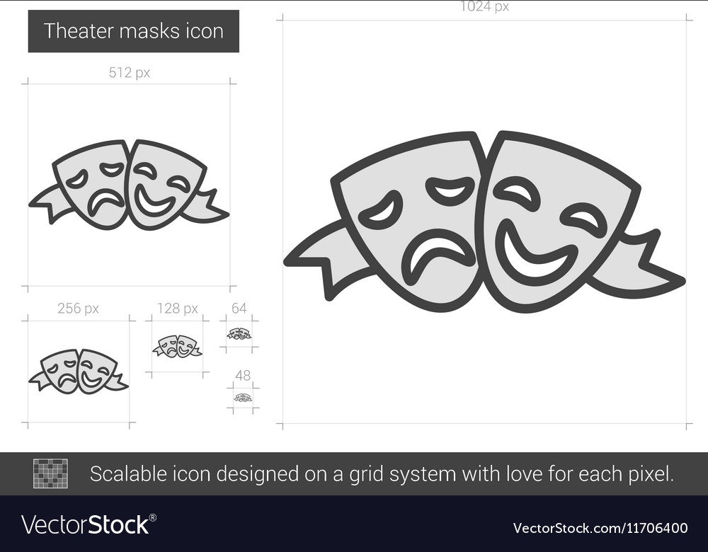 Theater masks line icon