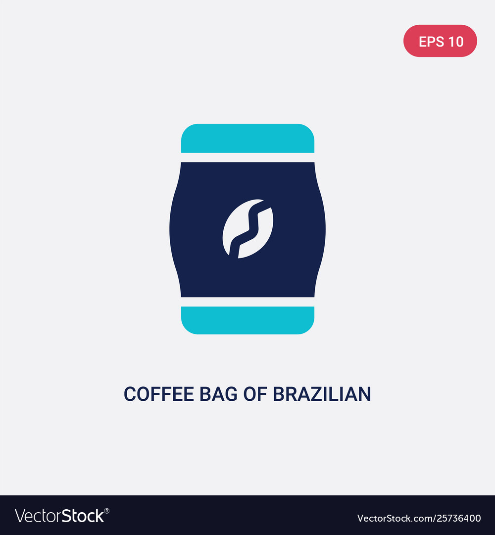 Two color coffee bag brazilian beans icon from