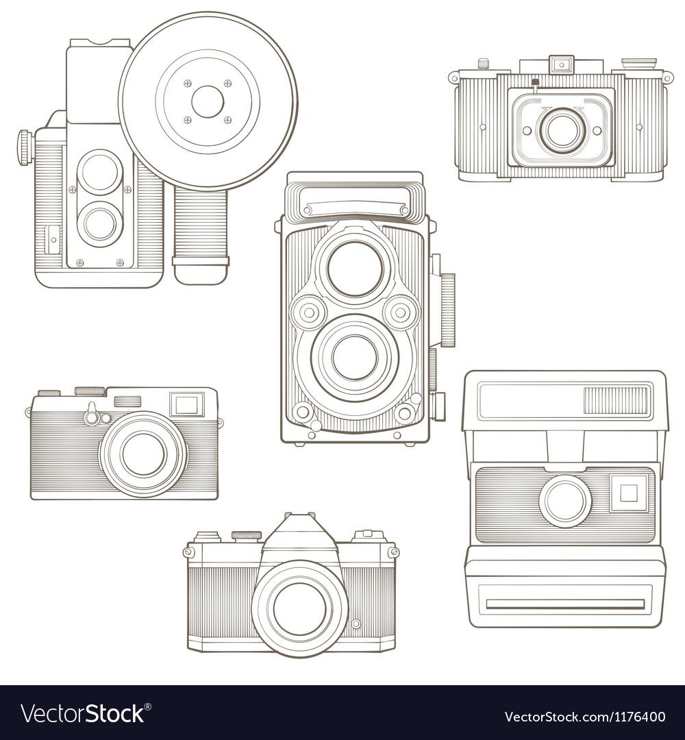 Vintage photo cameras set vector image