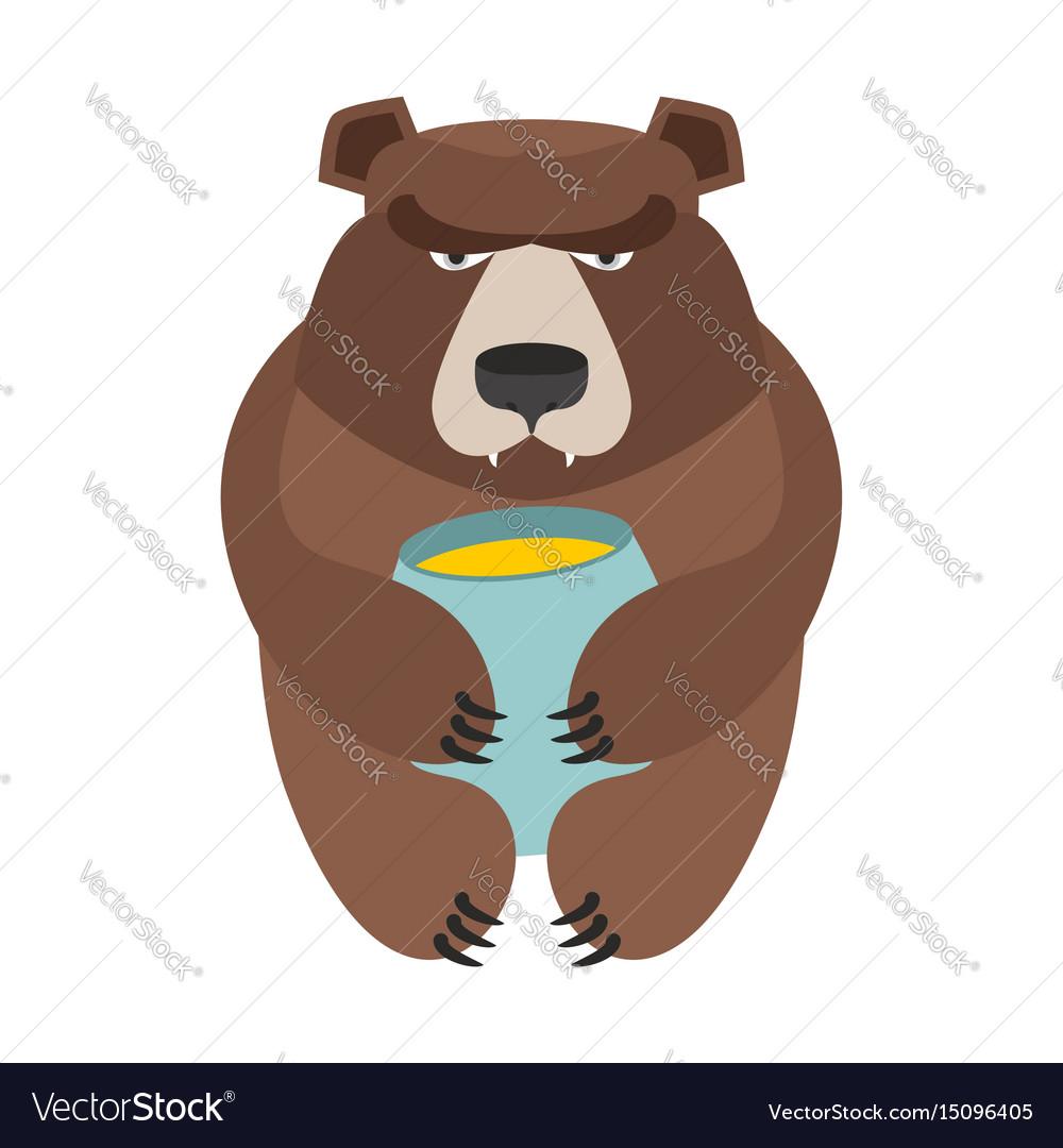 Bear and honey barrel cute wild animal and food