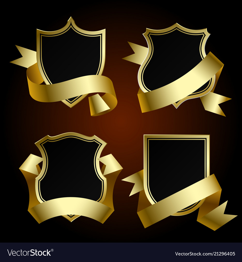 Black badge set with gold border and ribbon