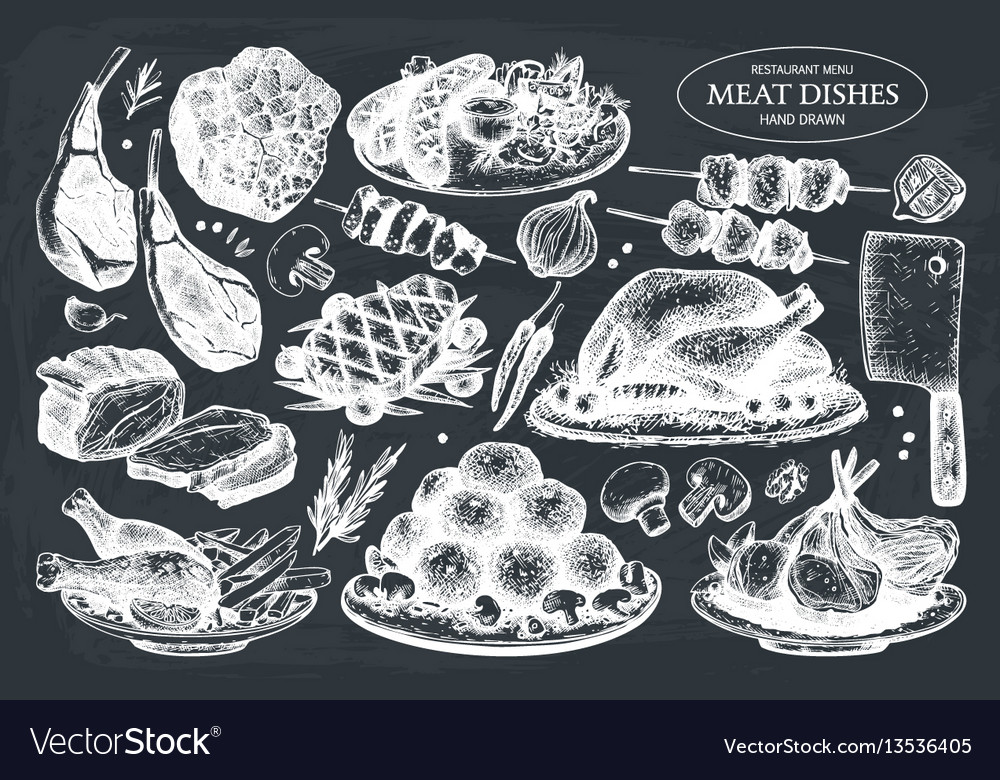 Collection of hand drawn meat