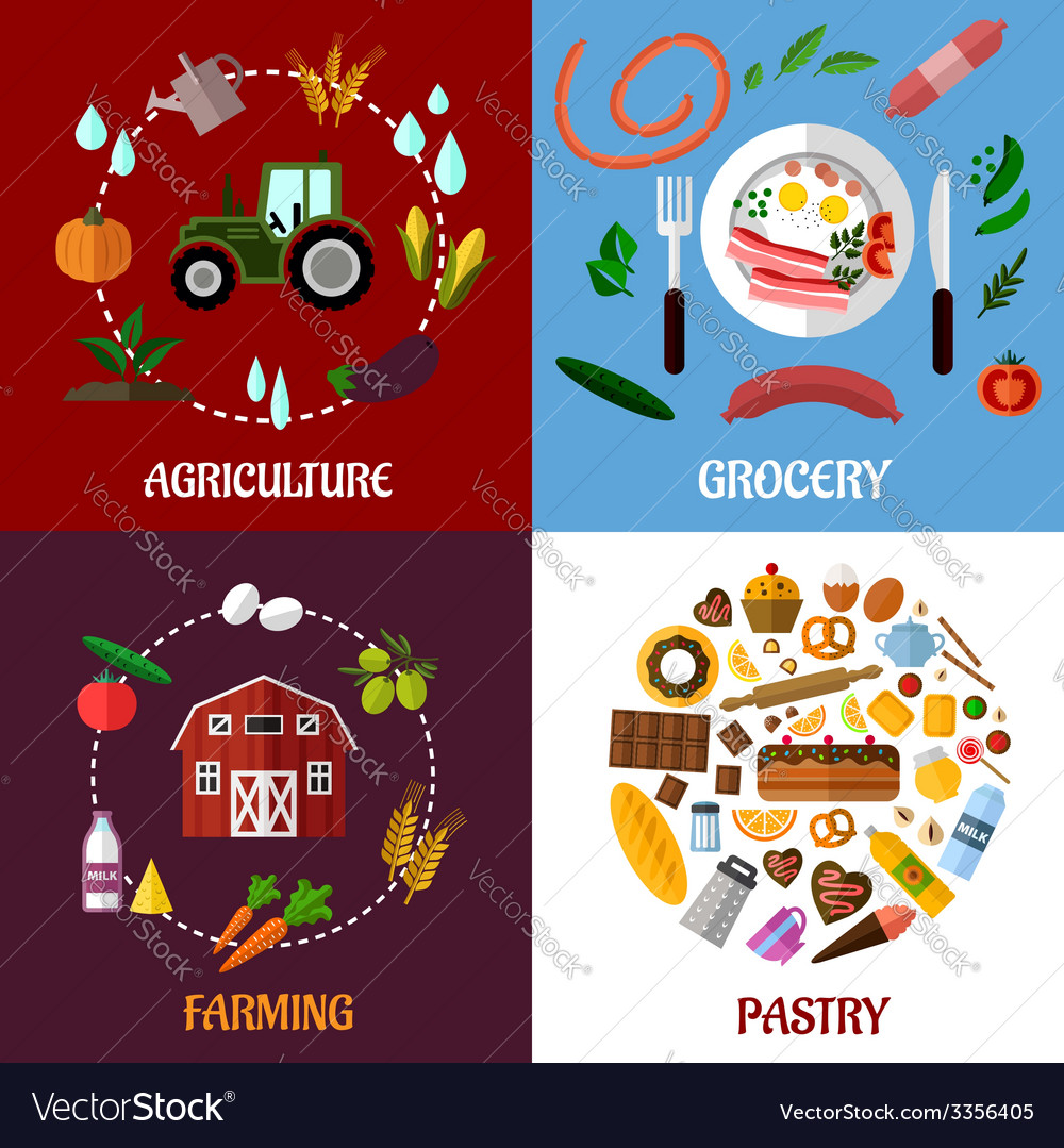 Creative food products concept flat infographics