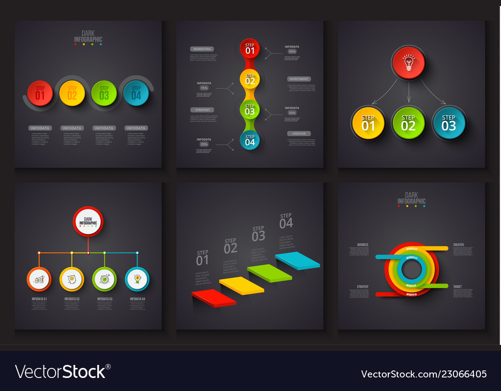Dark elements for infographic template