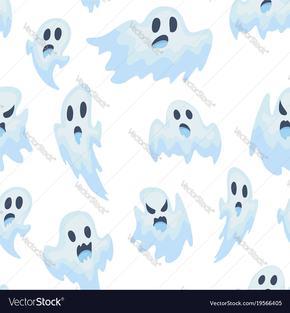 Halloween ghost semless pattern