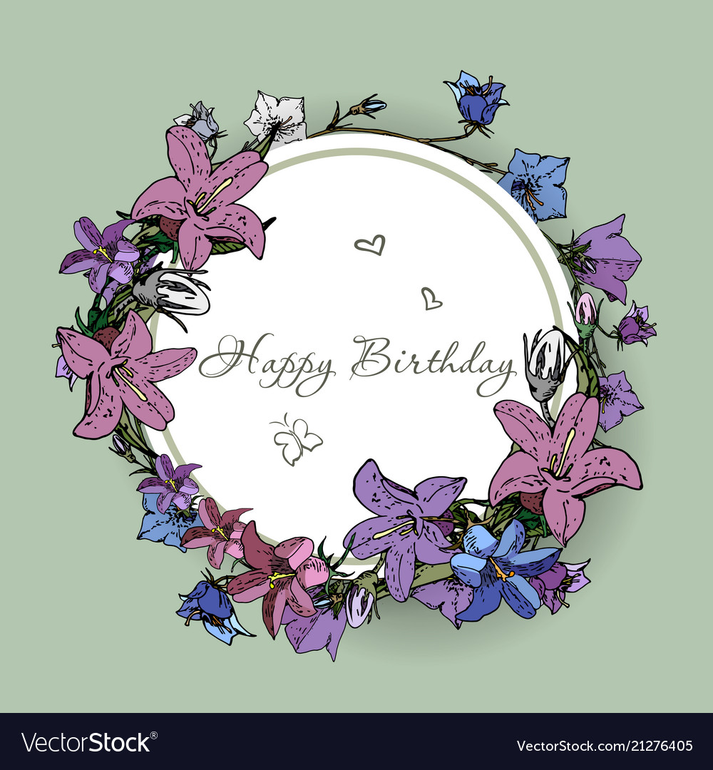 Happy birthday card with flowers royalty free vector image happy birthday card with flowers vector image izmirmasajfo