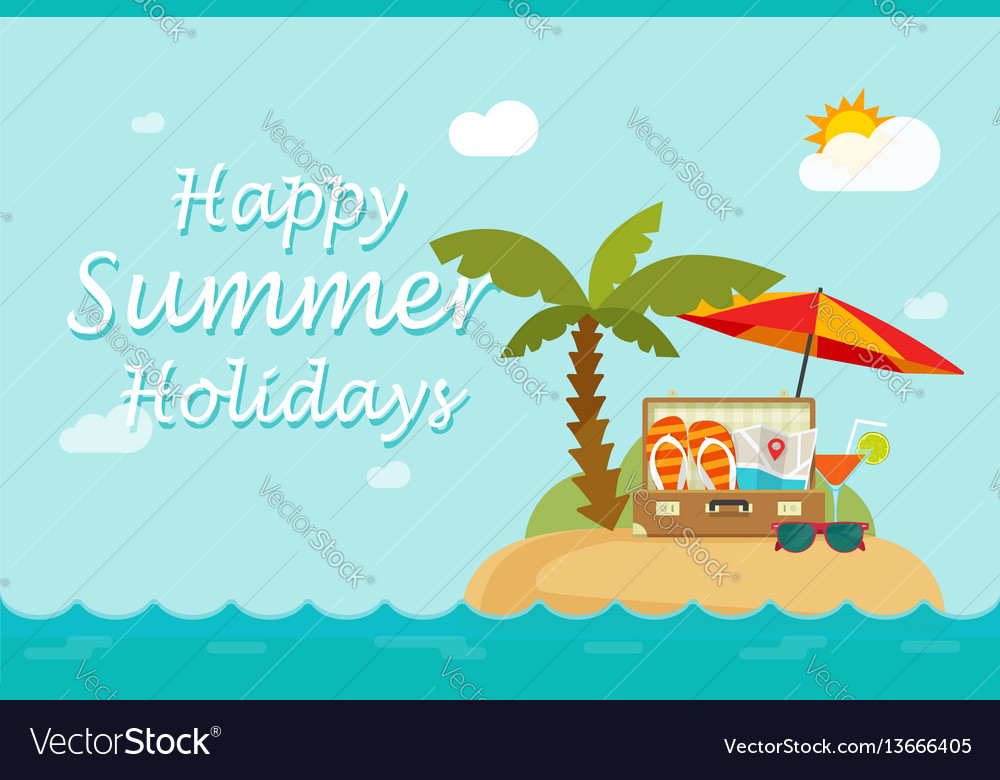 Happy summer holidays text on paradise sand island vector image