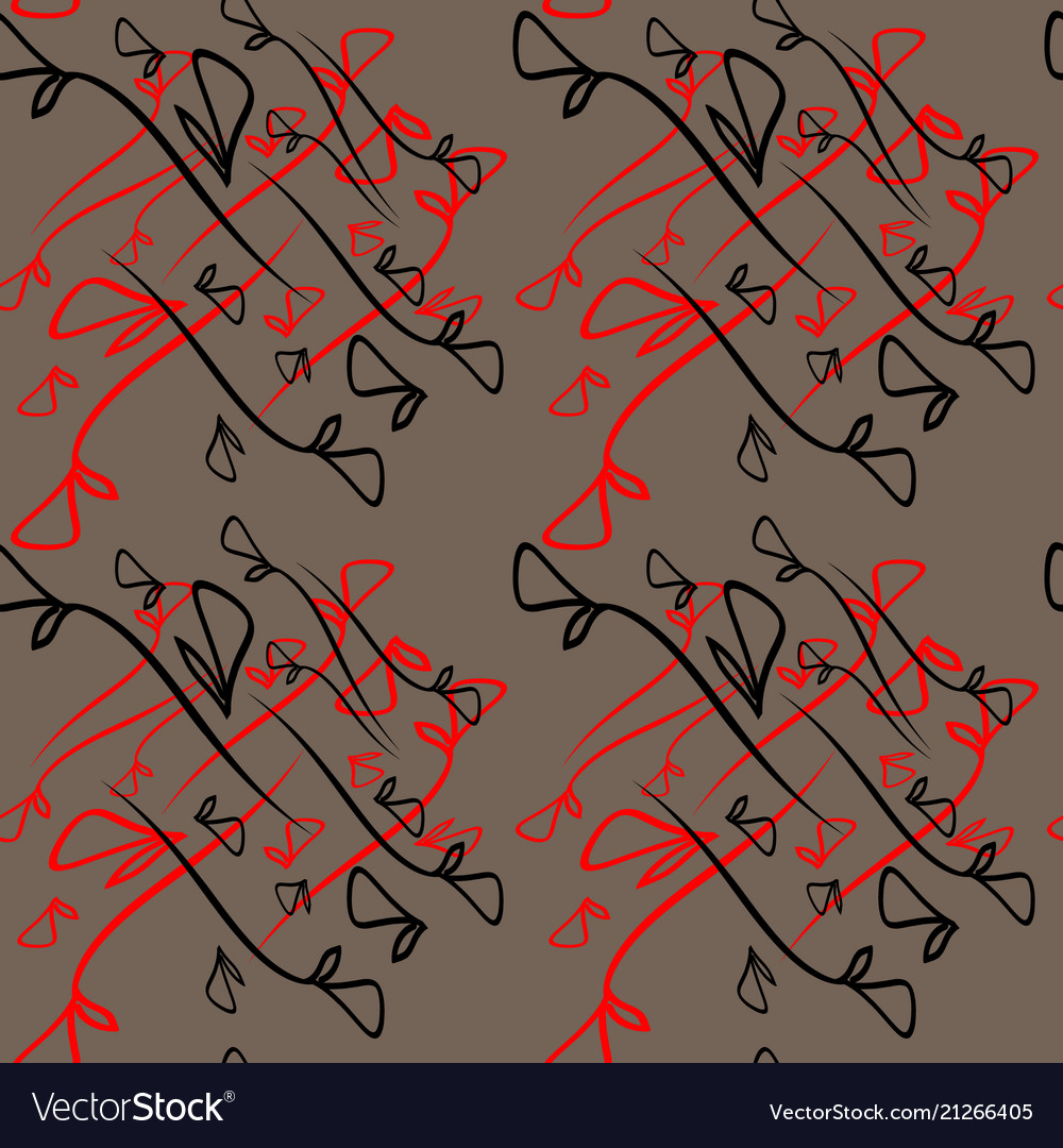 Pattern from plant black and red elements on a