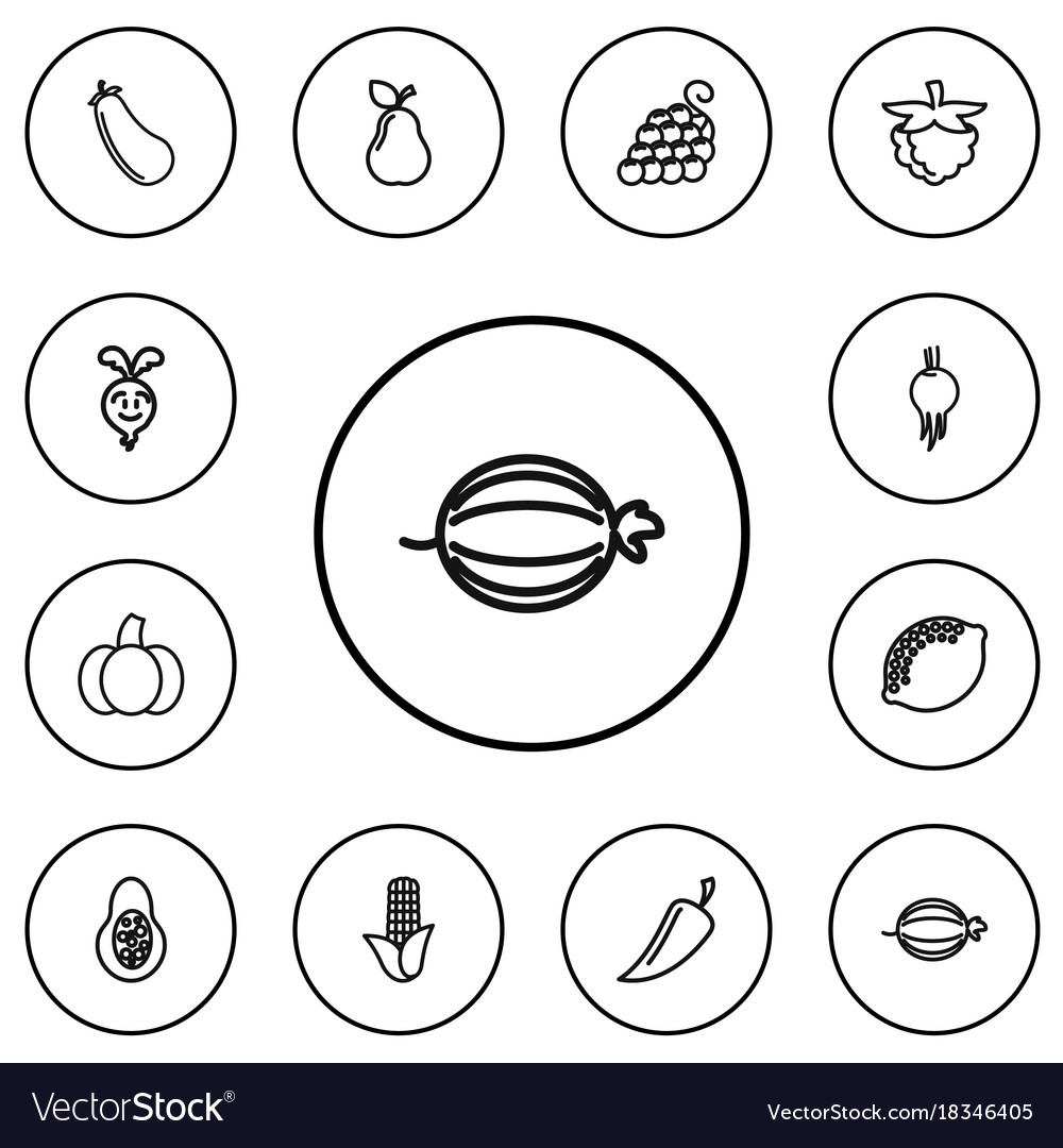 Set of 12 editable food outline icons includes