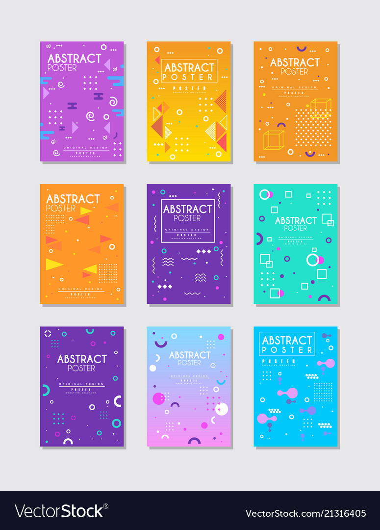 Set of 9 posters with different geometric
