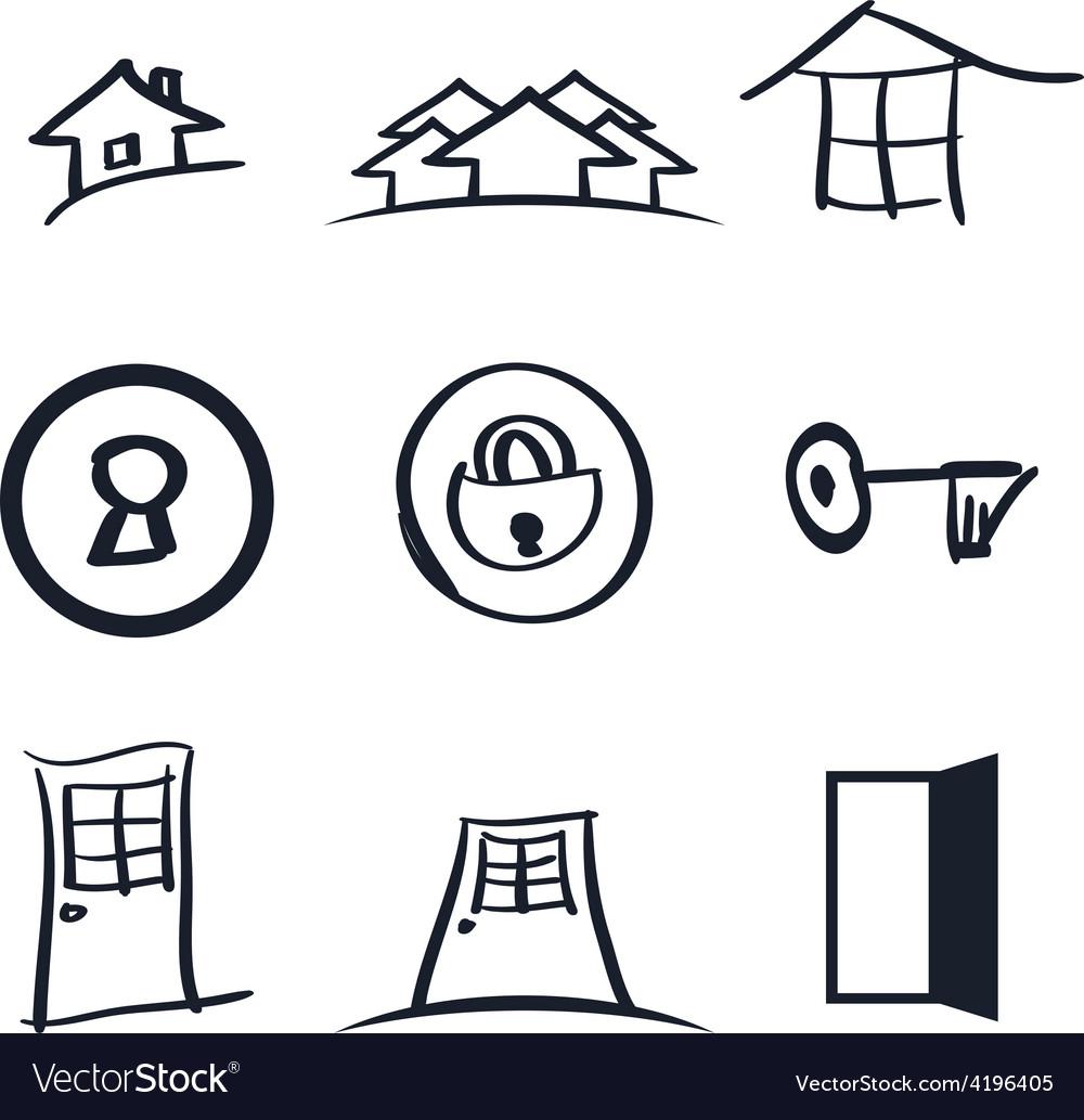 Set of nine realestate logos