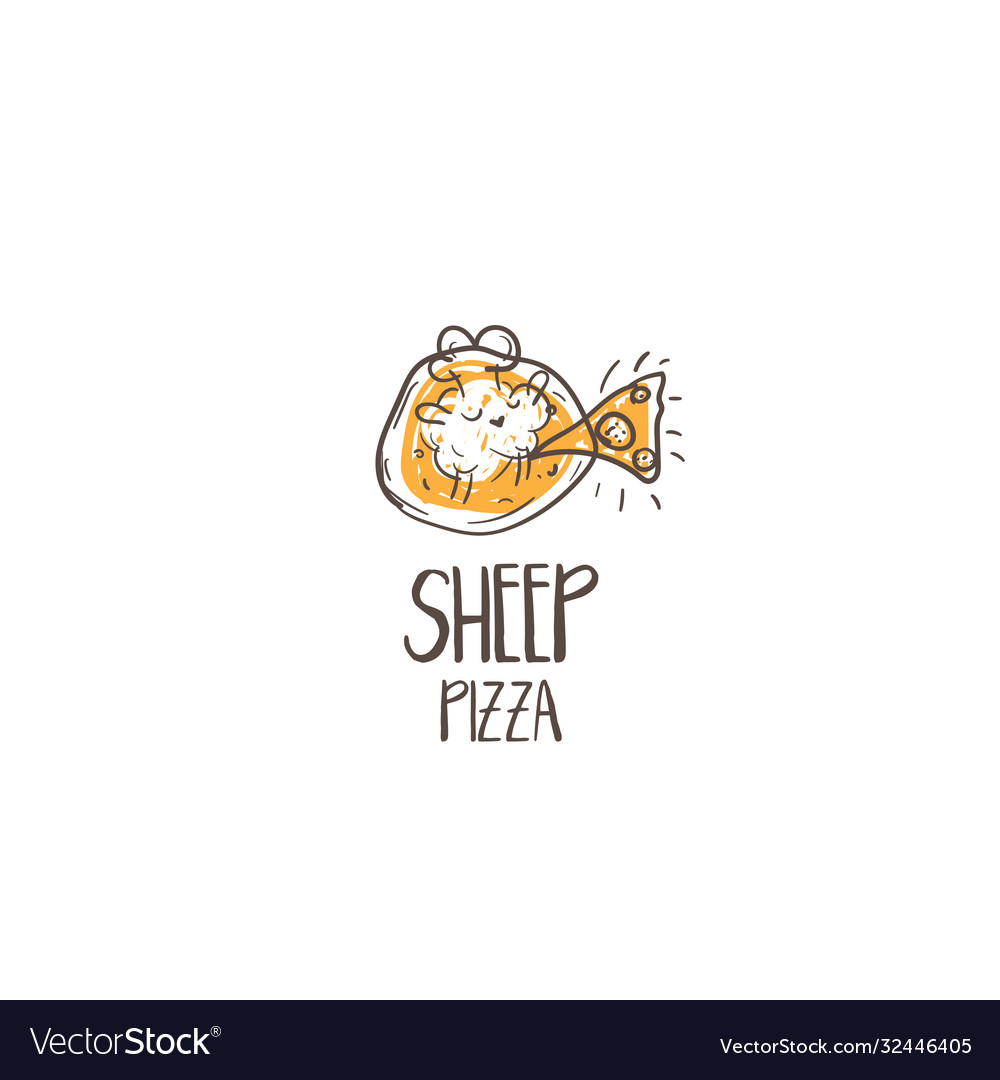 Template icon funny pizza with sheep chef