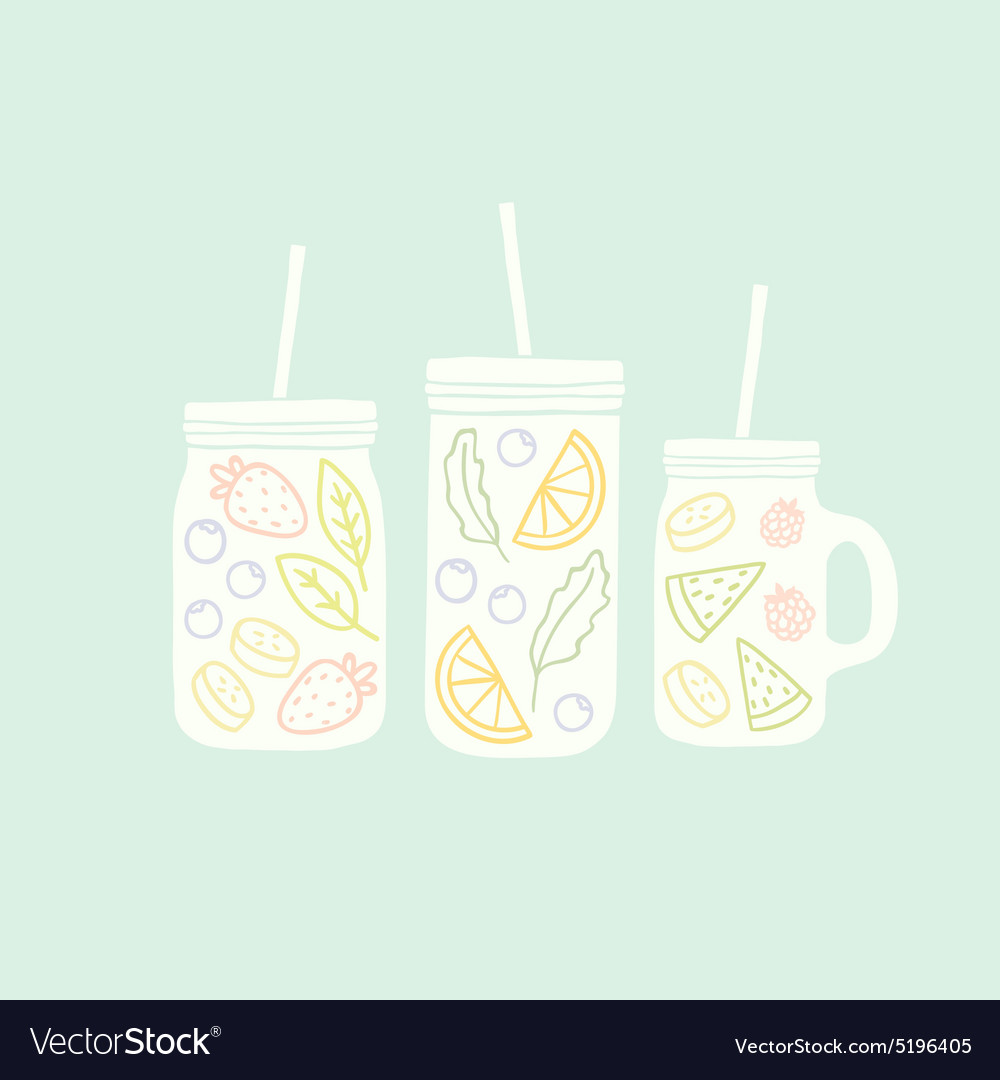 Three different mason jars with smoothie