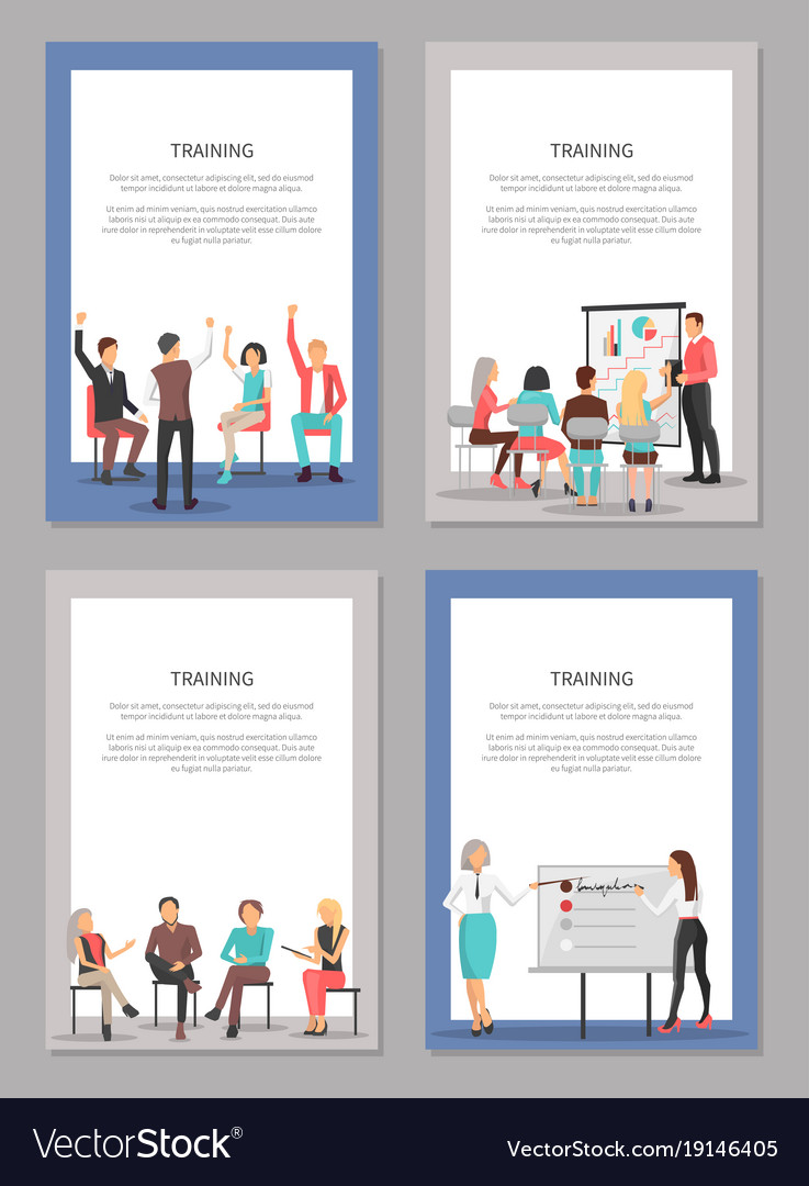 Training set of posters with people at conference