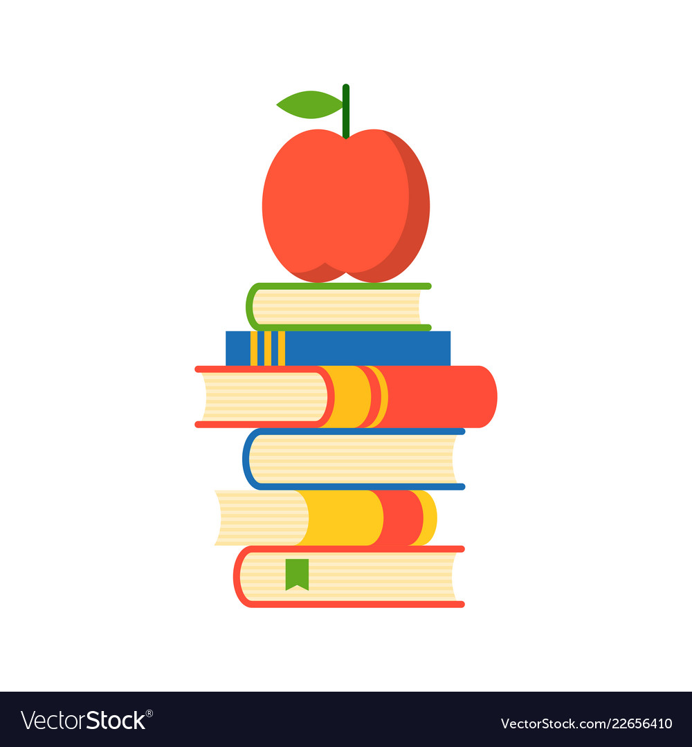 Apple on stack of books apple of wisdom flat