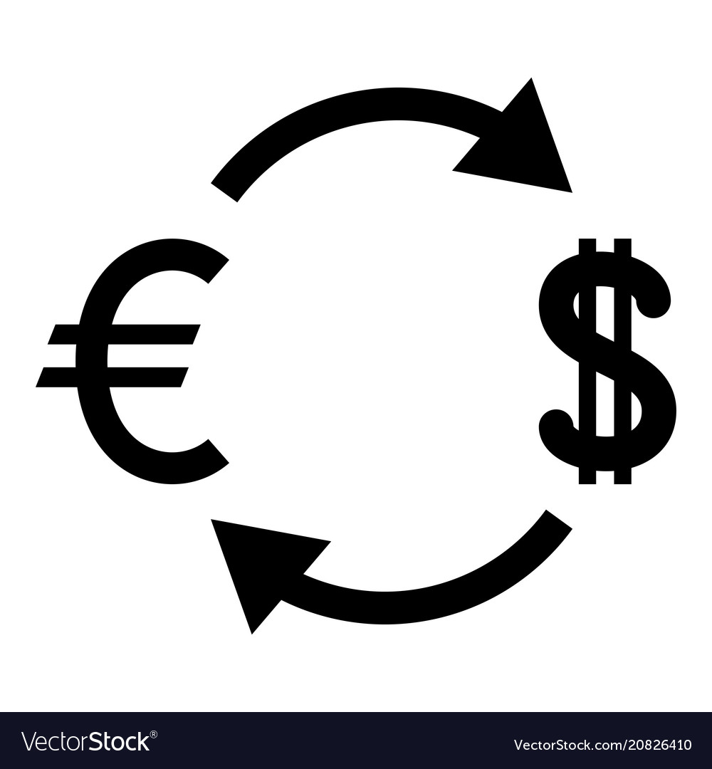 Currency exchange icon black color flat style