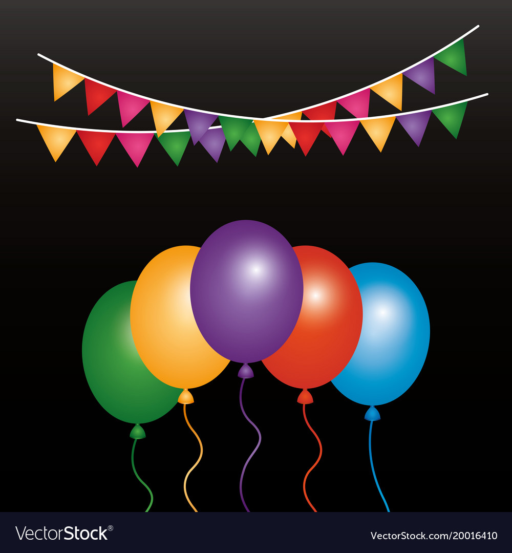 Glowing bunch balloons and garlands decoration vector image