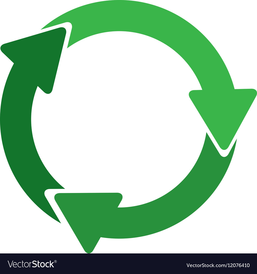 green circular recycling symbol shape with arrows vector image