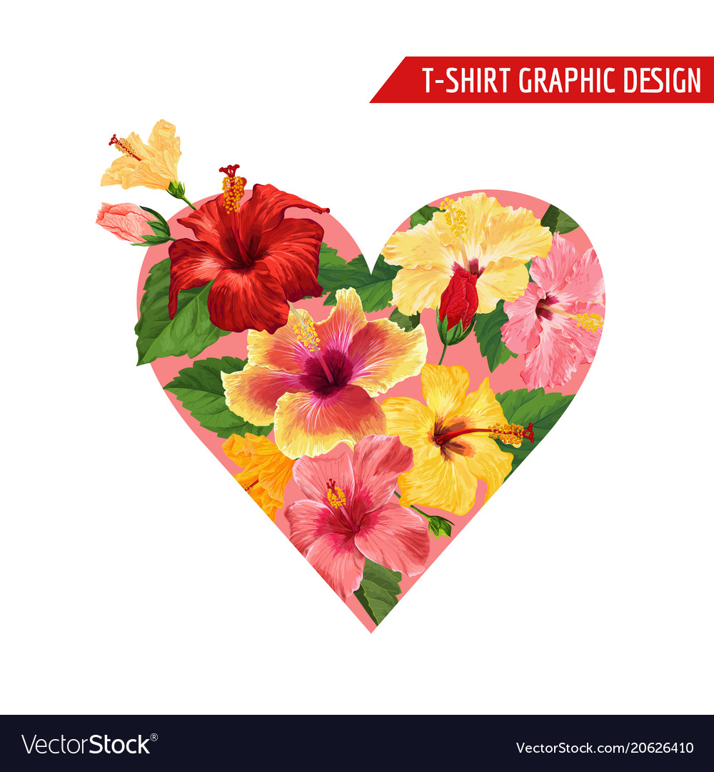 Love Romantic Floral Heart Design Hibiscus Flowers