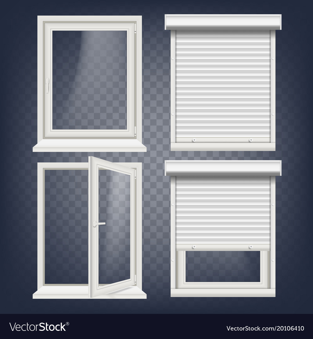 Pvc Window Rolling Shutters Opened And