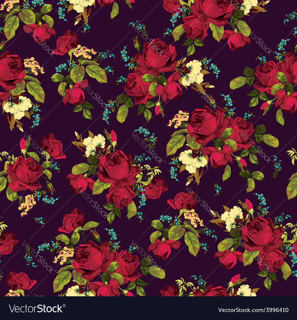 Seamless floral pattern with red roses on dark