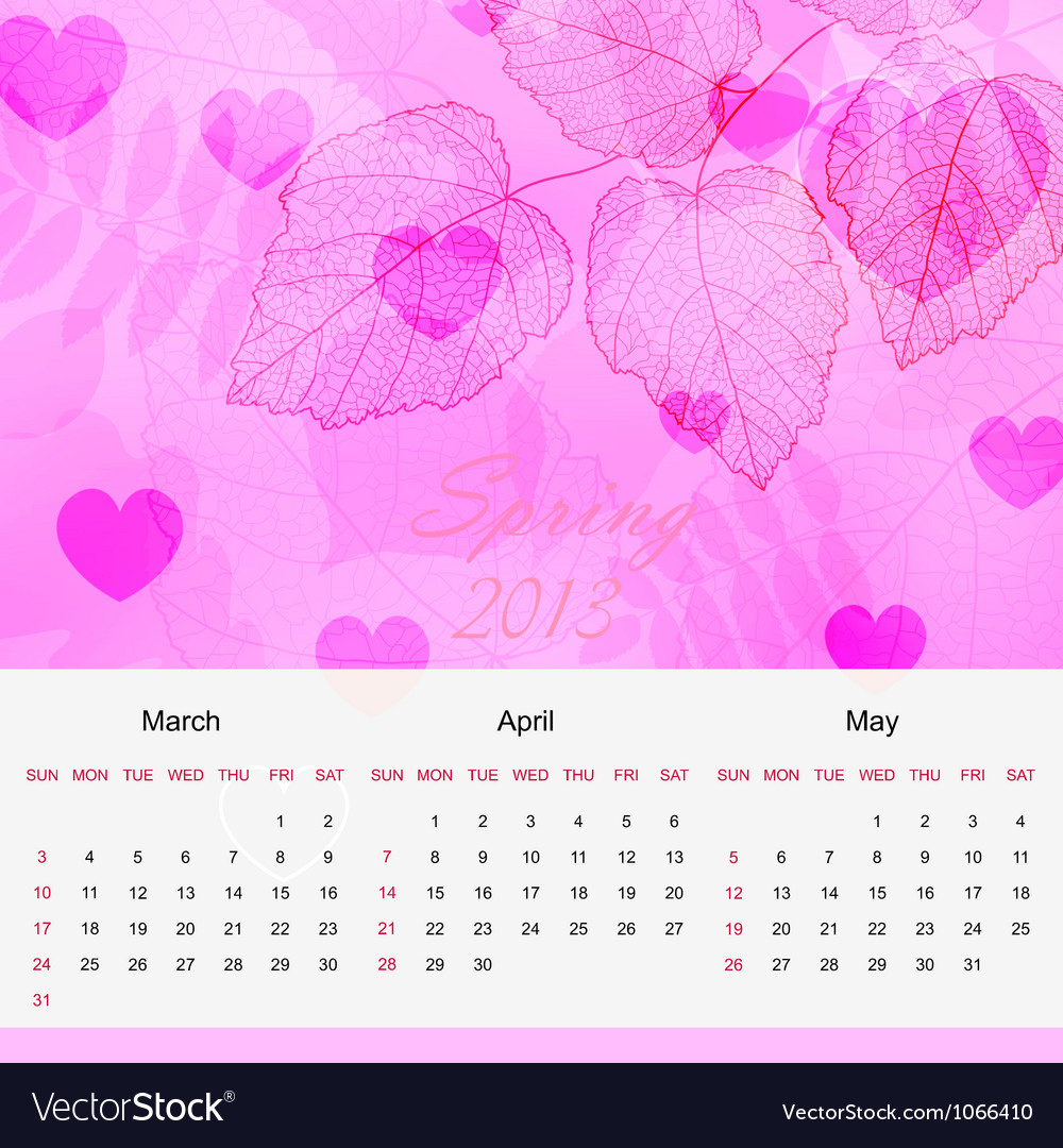 spring calendar page of new 2013 year royalty free vector