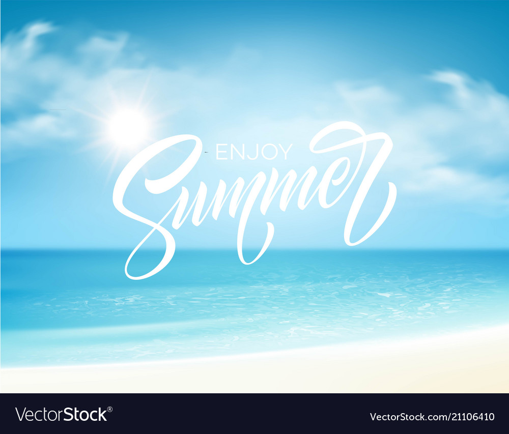 Summer lettering on the sea background