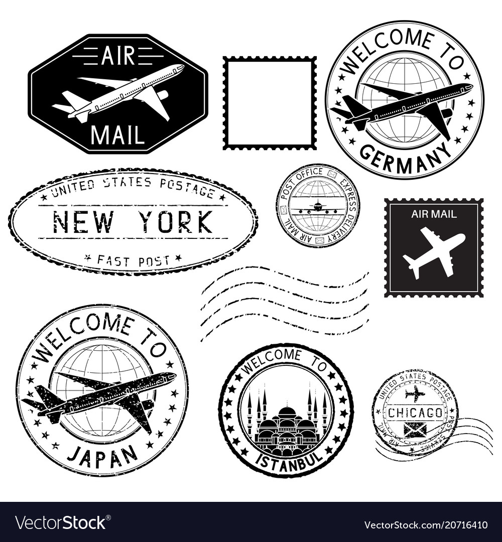Travel stamps and postmarks collection