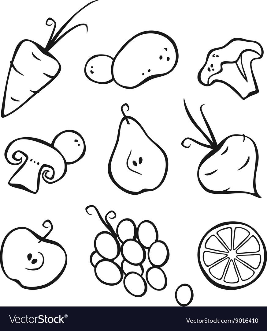 Vegetables And Fruits Part 1 Black Outlines