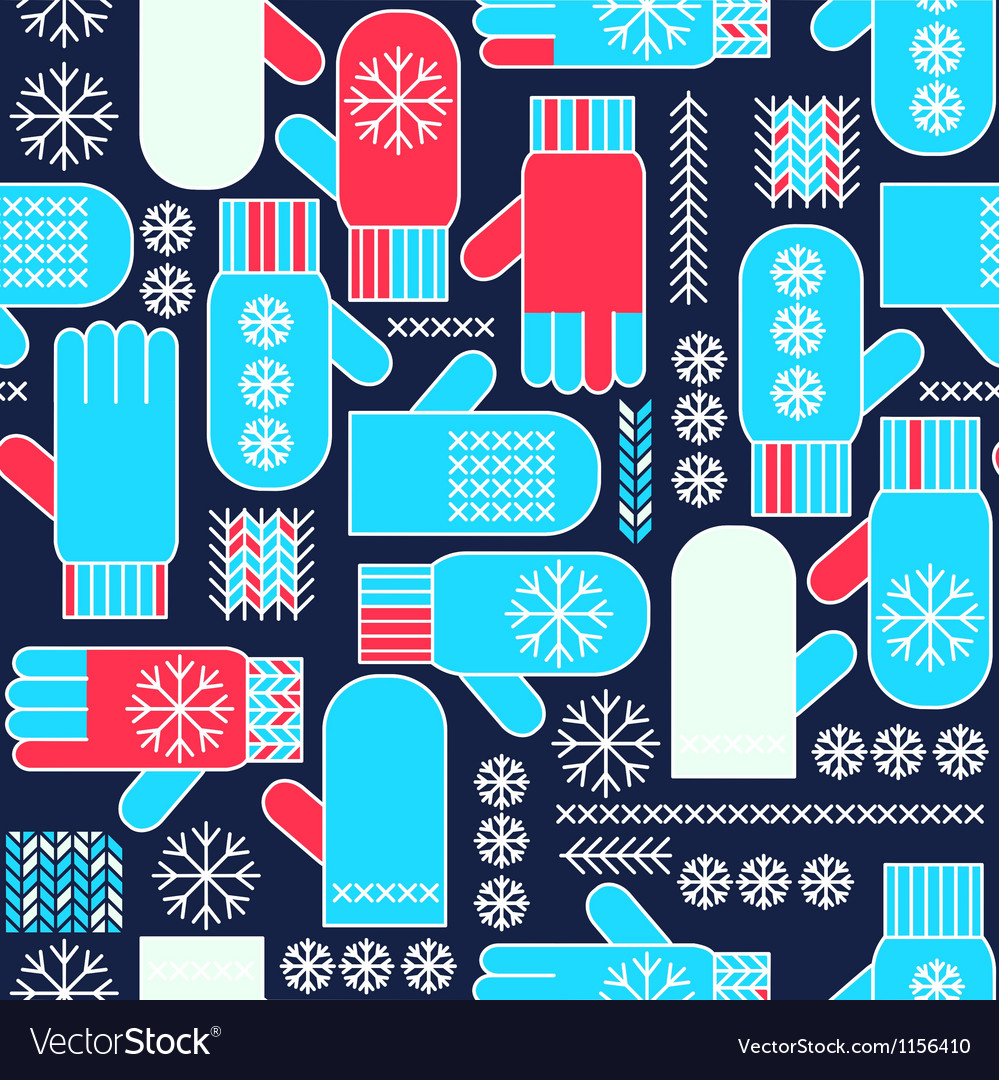 Winter mittens snowflake seamless pattern vector image
