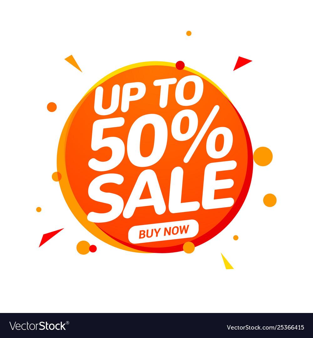 50 percent sale speech bubble banner sign