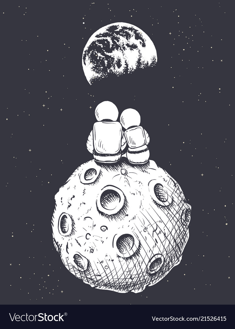 Astronaut girl and boy sits on moon
