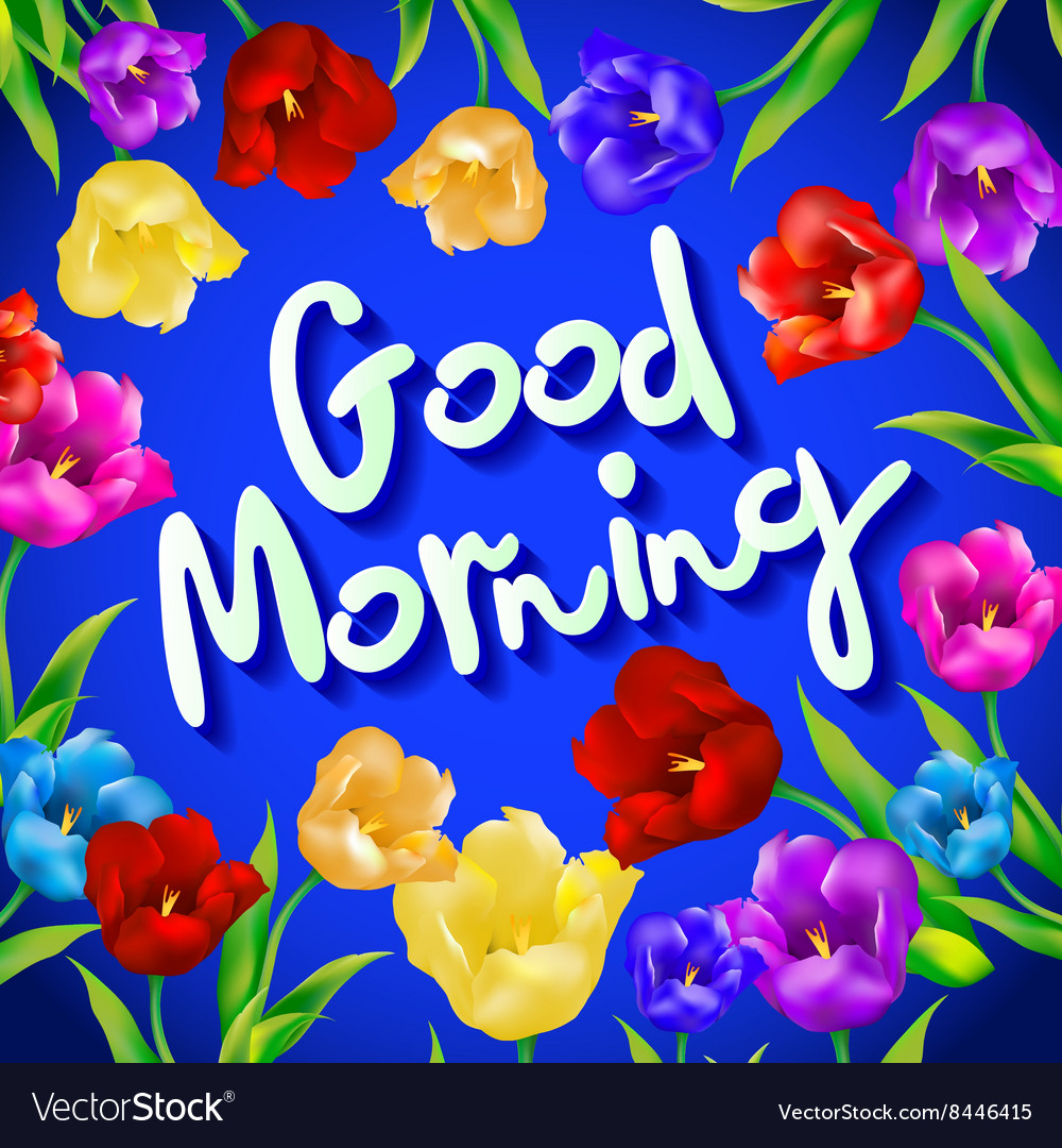 Good Morning Lovely Card With Flowers And Vector Image