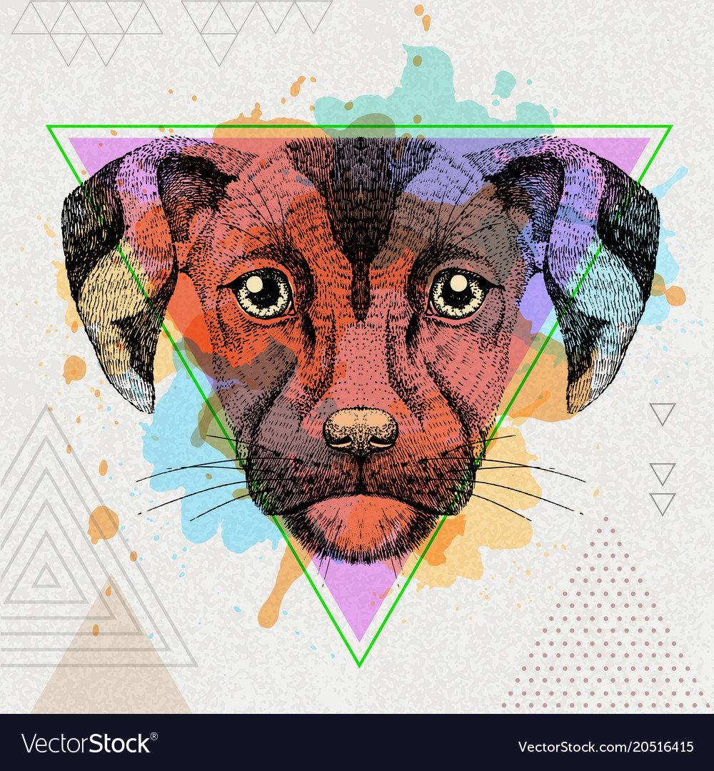 Hipster animal dog on artistic polygon watercolor