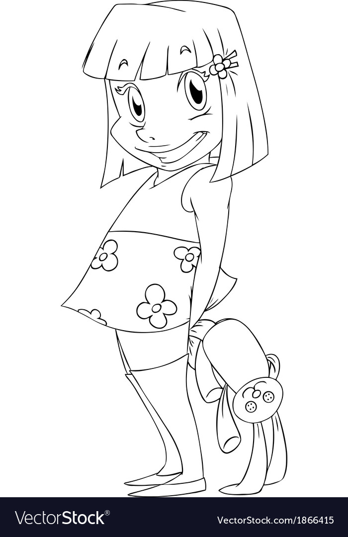 Little Girl With Rabbit Doll Coloring Page