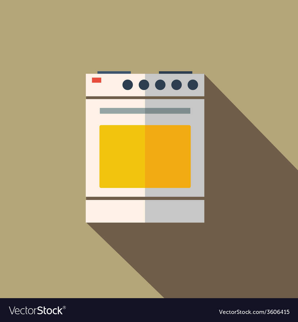 Modern Flat Design Concept Icon Kitchen Stove Oven Vector Image
