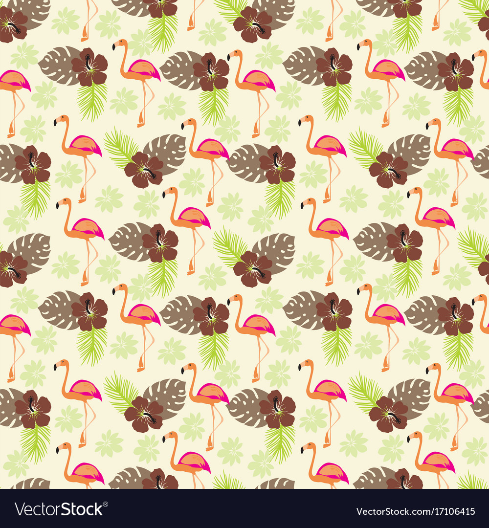 Tropical pattern with flamingo and palm leaves