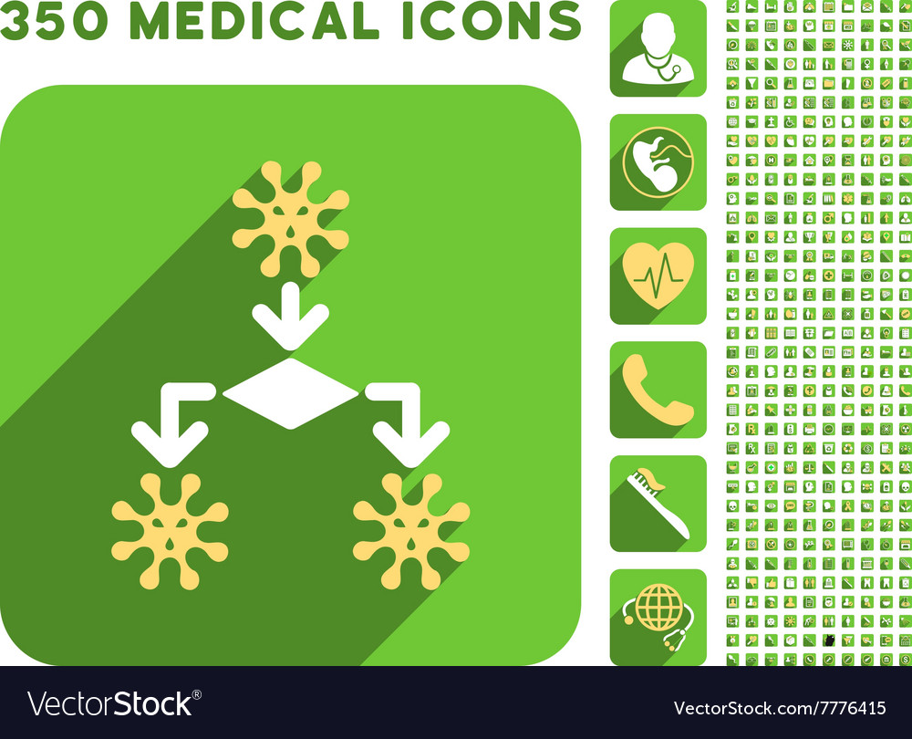 Virus Reproduction Icon and Medical Longshadow vector image