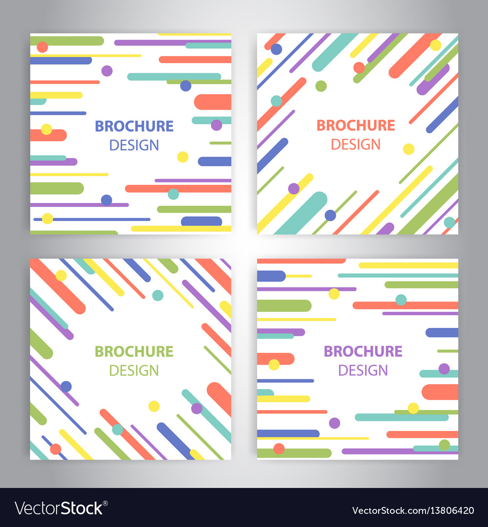 Brochure covers with flat geometric pattern