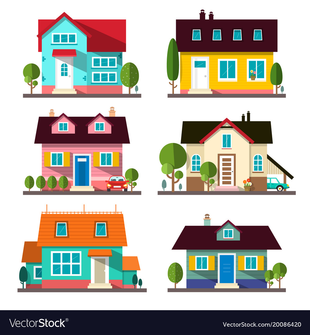 Buildings set flat design houses isolated on