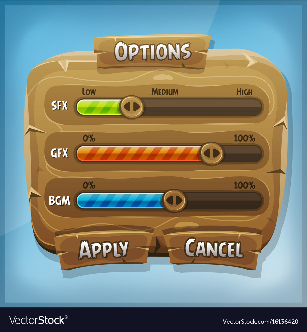 Cartoon wood control panel for ui game
